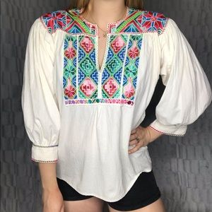 Boho Jane Needle Embroidered Peasant Blouse Top